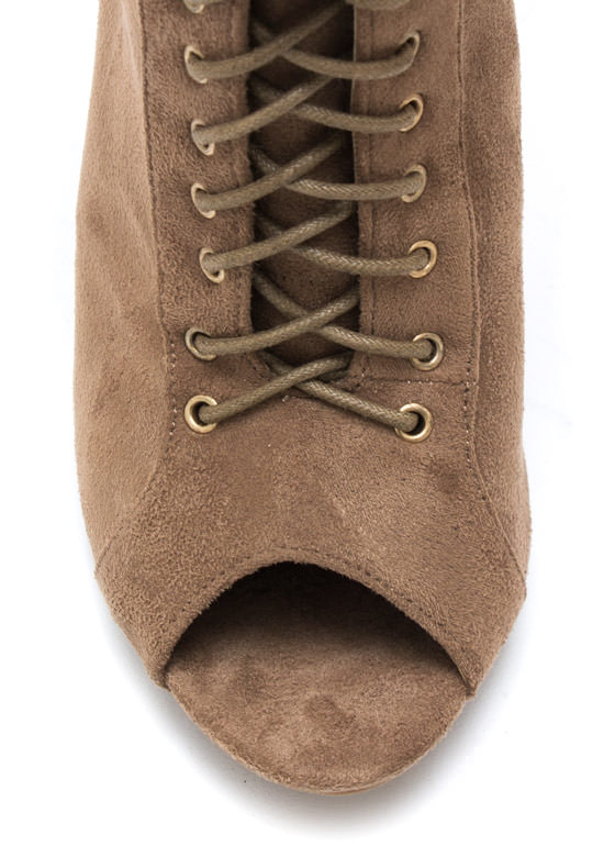 So X Quisite Lace Up Booties TAUPE