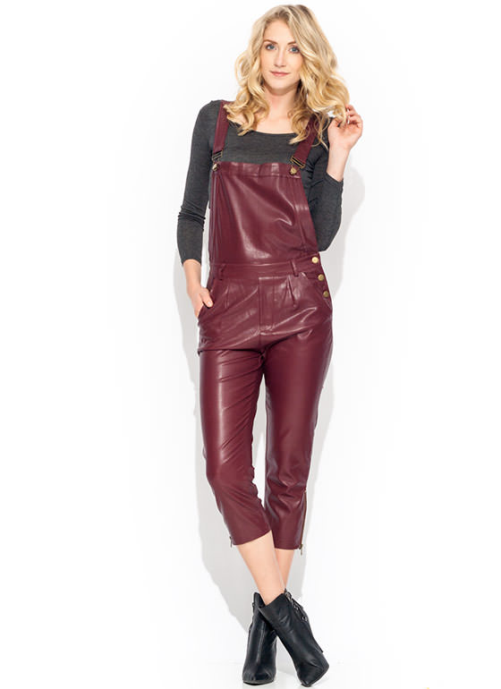 Faux Leather Overalls BURGUNDY