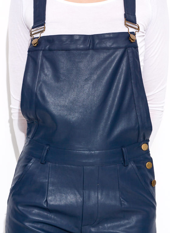 Faux Leather Overalls NAVY