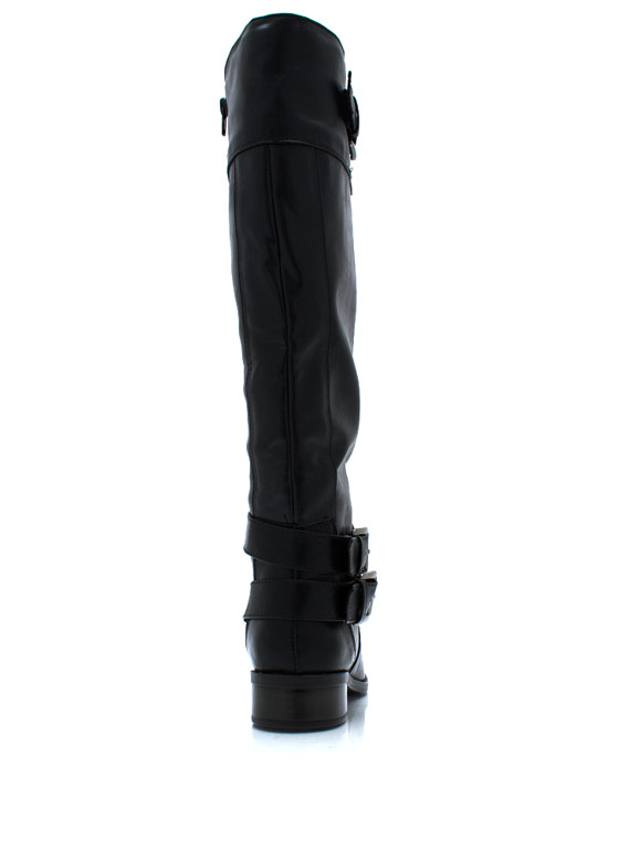 Tri Buckle Riding Boots BLACK