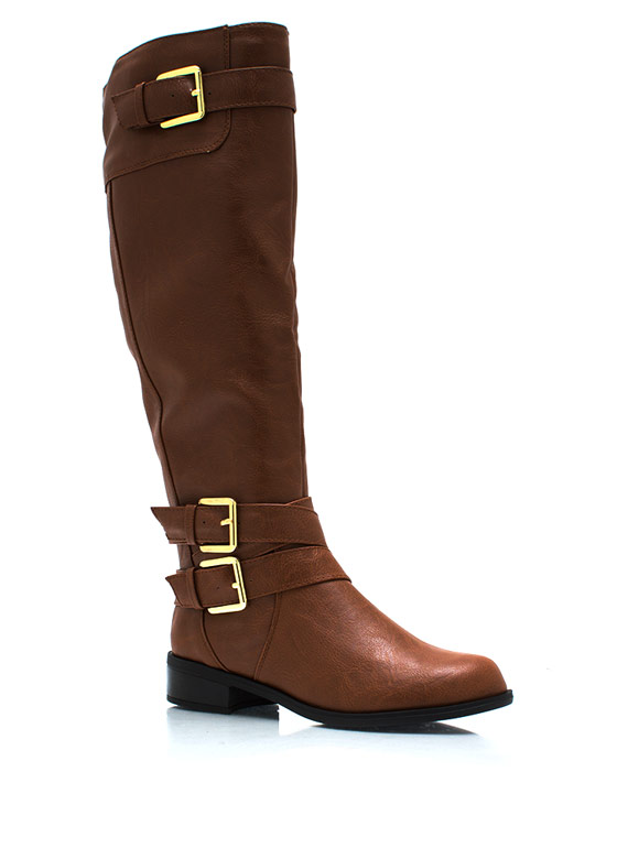 Tri Buckle Riding Boots COGNACGOLD