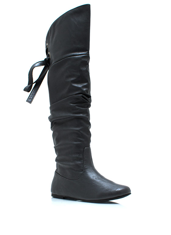 Laced Warrior Slouchy Boots GREY