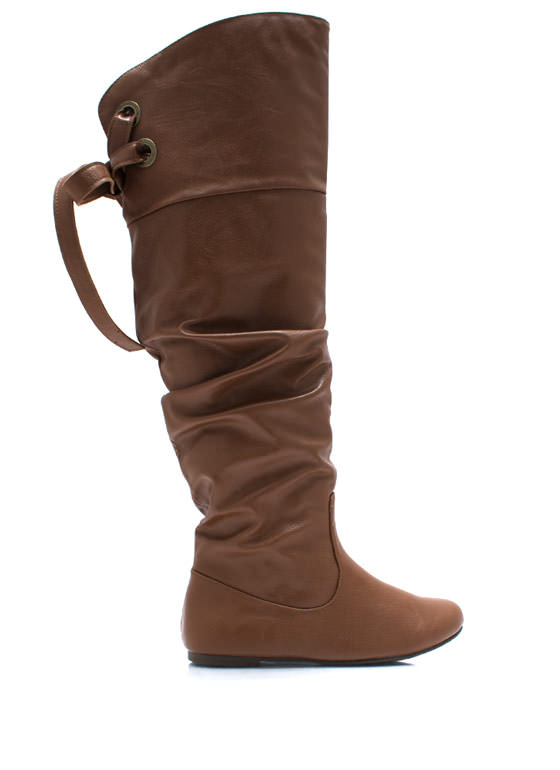 Laced Warrior Slouchy Boots TAN