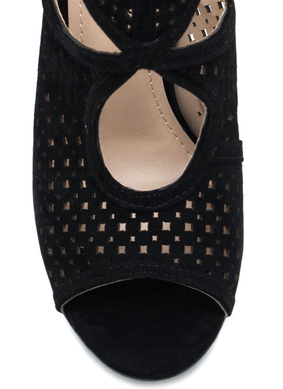Perforated Cut Out Booties BLACK