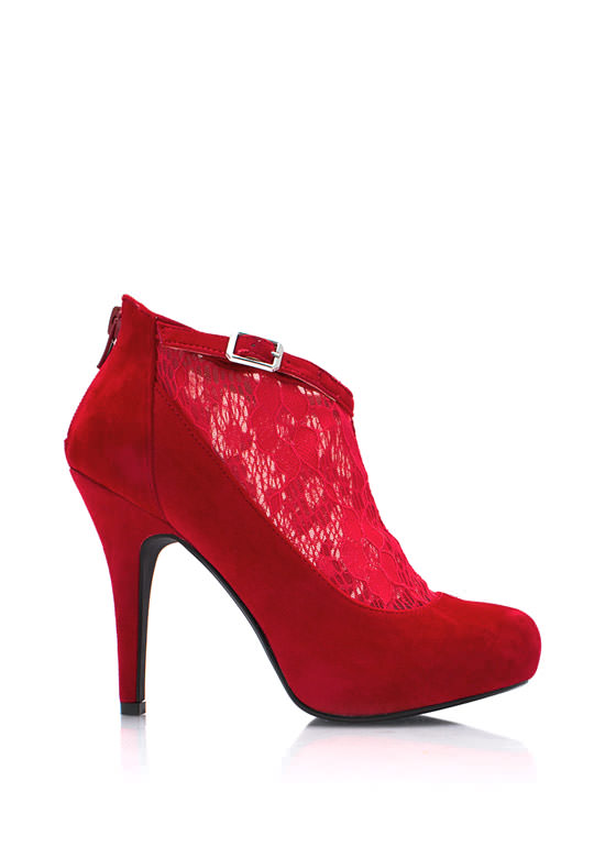 Socks Appeal Lace Booties RED
