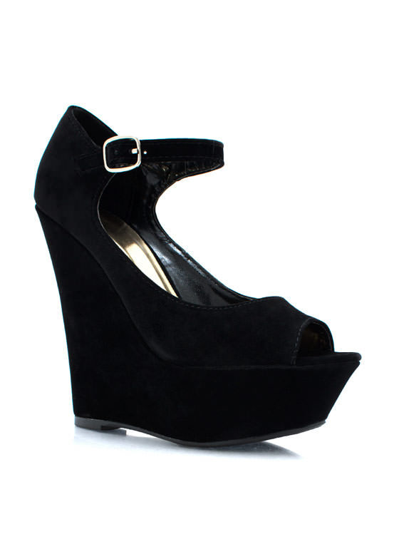 Peepin Faux Suede Wedges BLACK