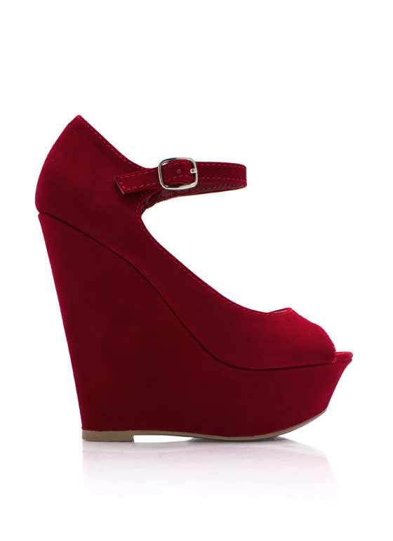 Peepin Faux Suede Wedges RED