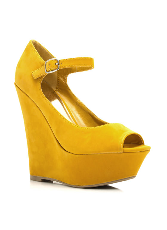 Peepin Faux Suede Wedges YELLOW