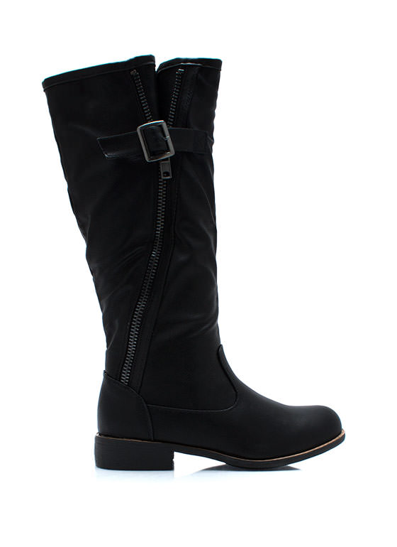 Zip Master Buckle Boots BLACK