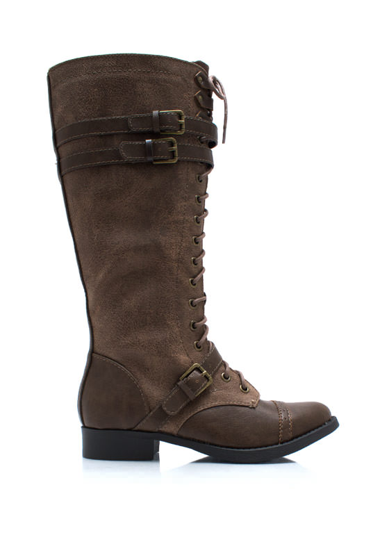 Higher Me Lace Up Boots LTBROWNTAN