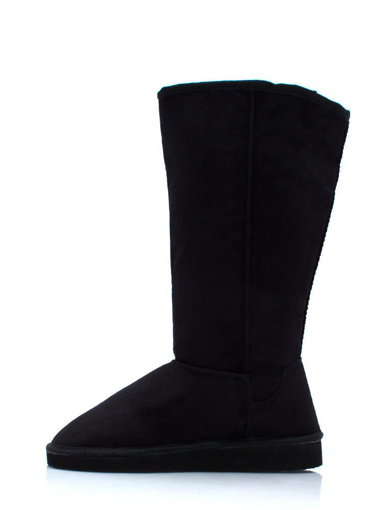 High Time Faux Shearling Boots BLACK