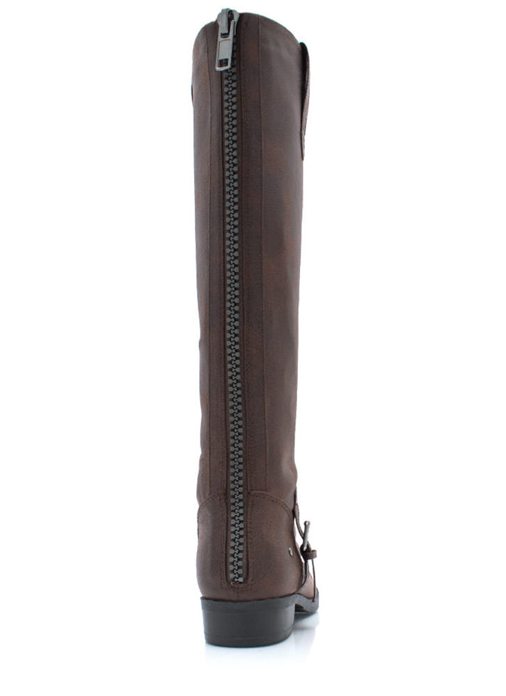 Tall For One Zip Back Boots DKBROWN