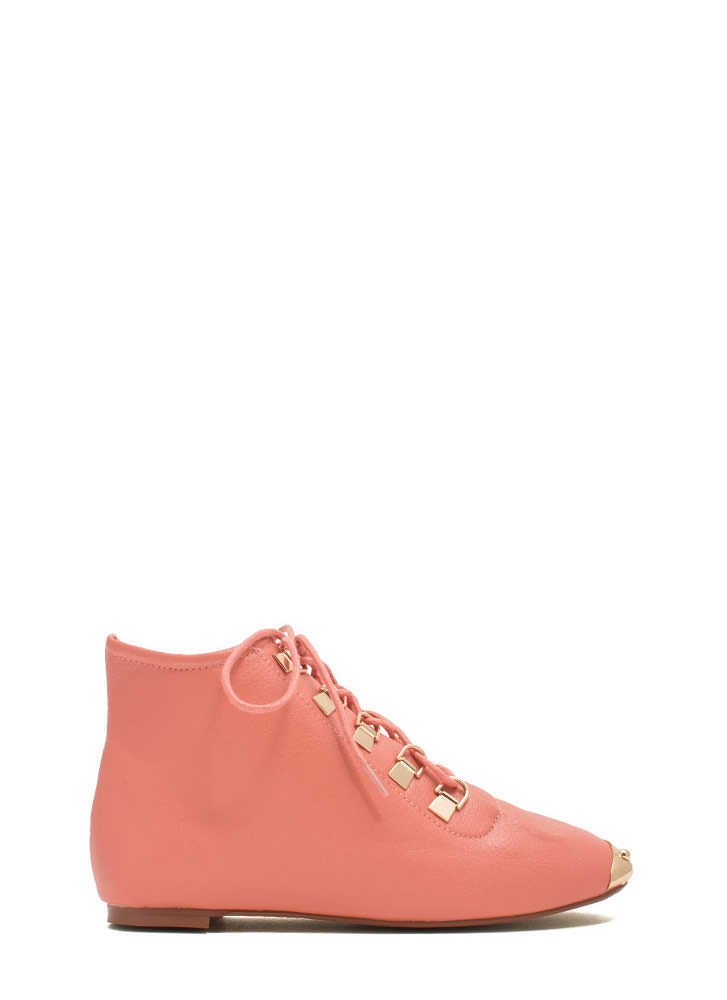 Faux Leather D Ring Ankle Boots CORAL