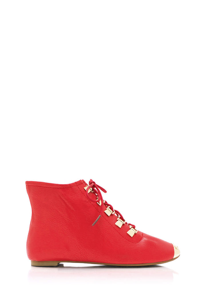 Faux Leather D Ring Ankle Boots RED