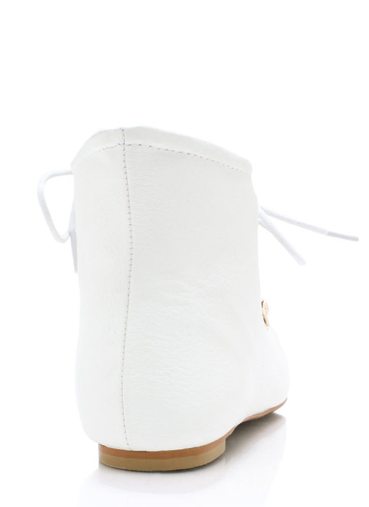 Faux Leather D Ring Ankle Boots WHITE