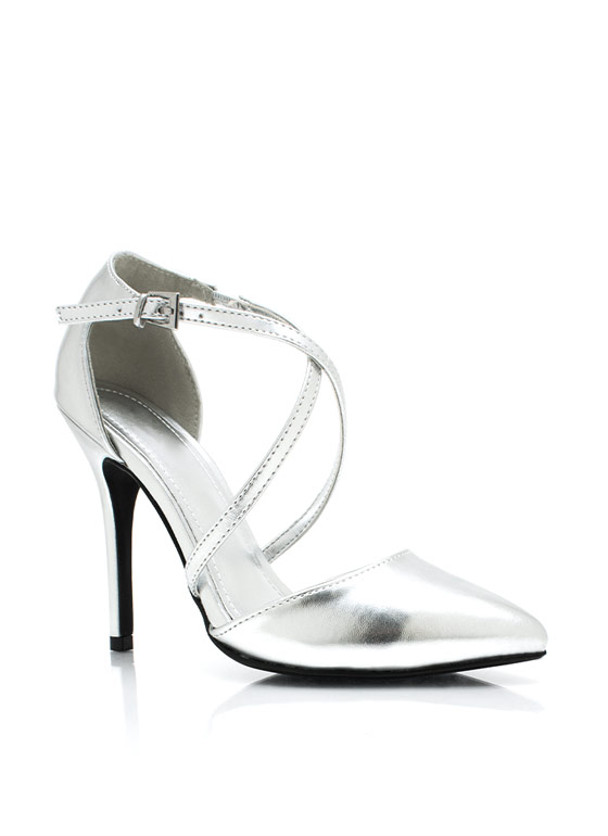 Cross Paths Metallic Pointy Pumps SILVER