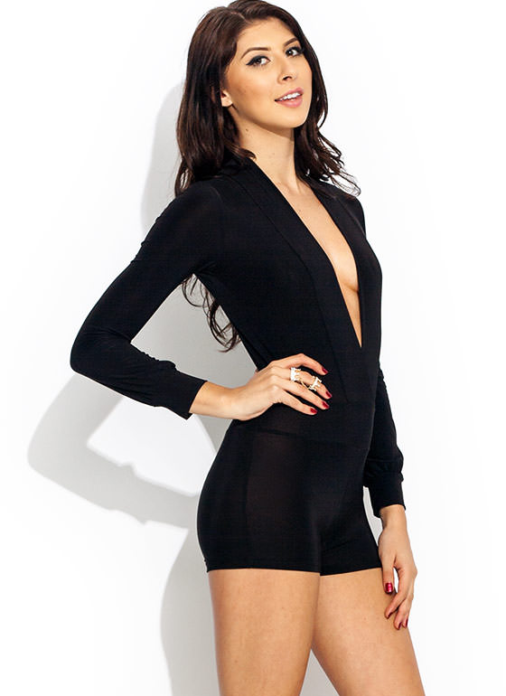 Take The Plunge Shiny Romper BLACK