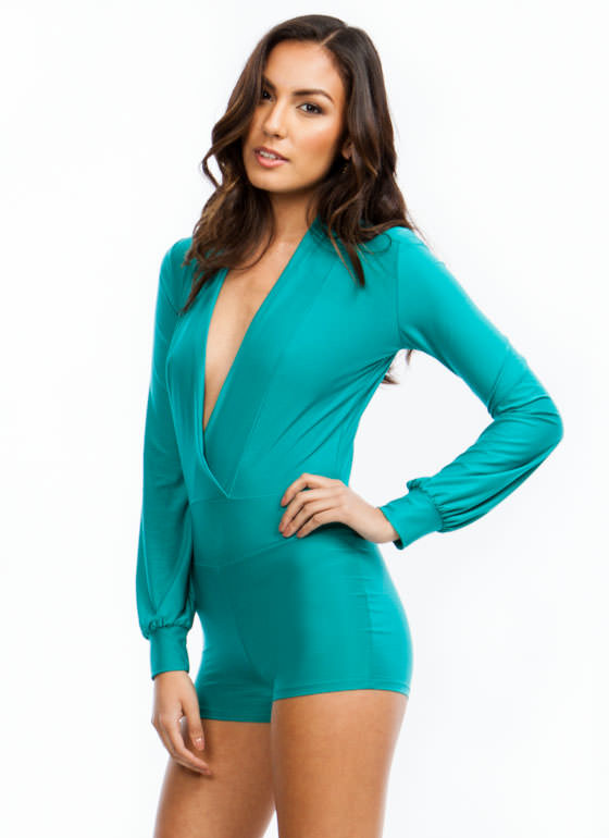 Take The Plunge Shiny Romper JADE