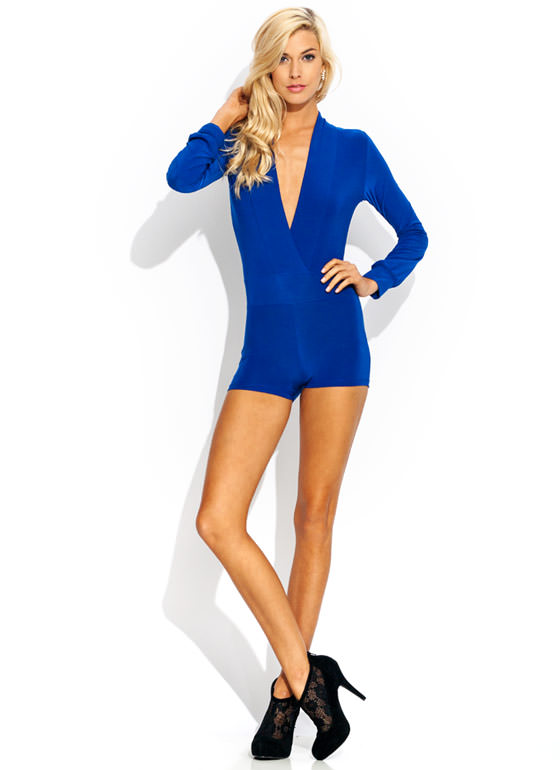 Take The Plunge Shiny Romper ROYAL