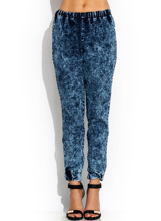 Acid Wash Joggers DKBLUE