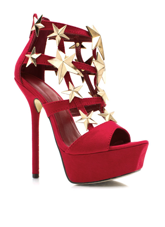 Starry Faux Suede Heels RED