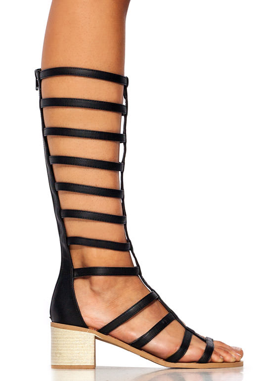 Ladder Up Gladiator Heels BLACK
