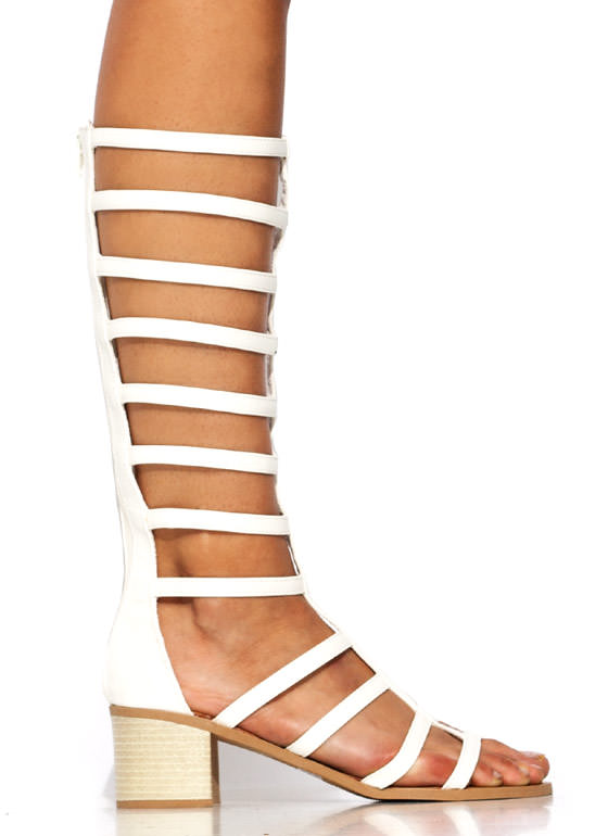Ladder Up Gladiator Heels WHITE