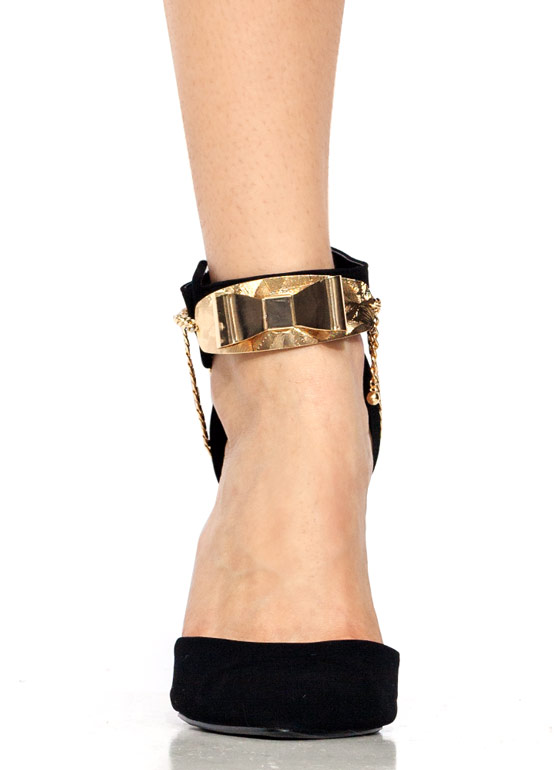 Draped Bow 'N Chain Anklet GOLD