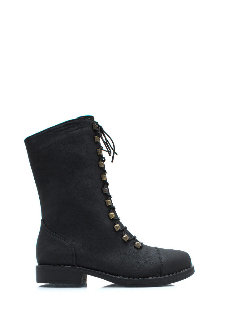 Prism Break Studded Combat Boots BLACK