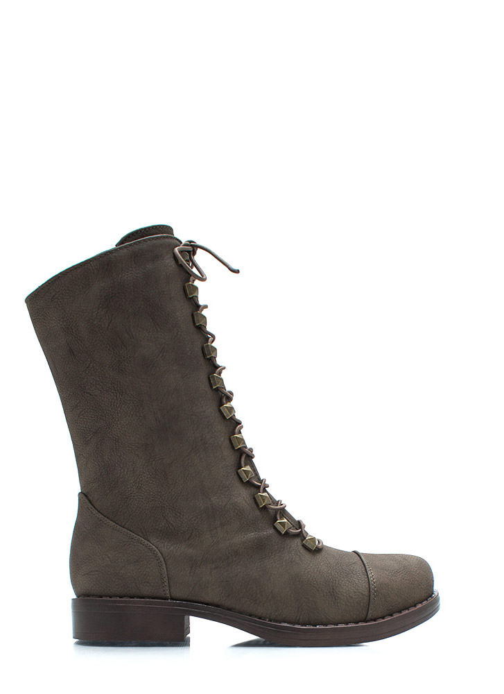 Prism Break Studded Combat Boots BROWN