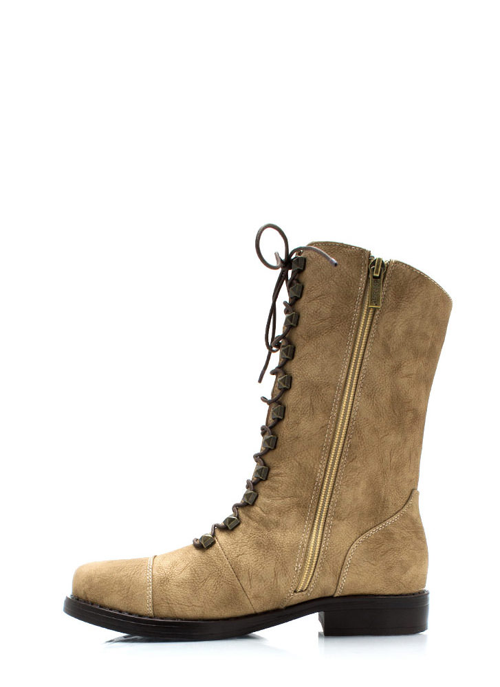 Prism Break Studded Combat Boots TAN
