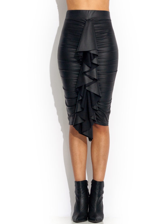 Ruche Into It Ruffled Skirt BLACK