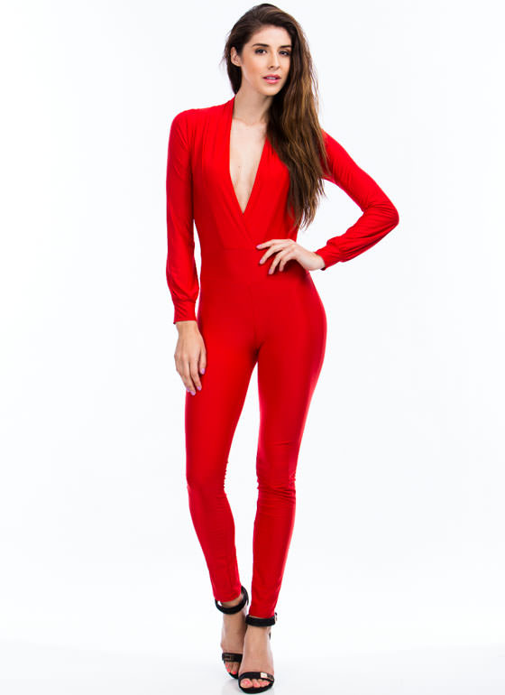 Deep Down Plunging Jumpsuit RED