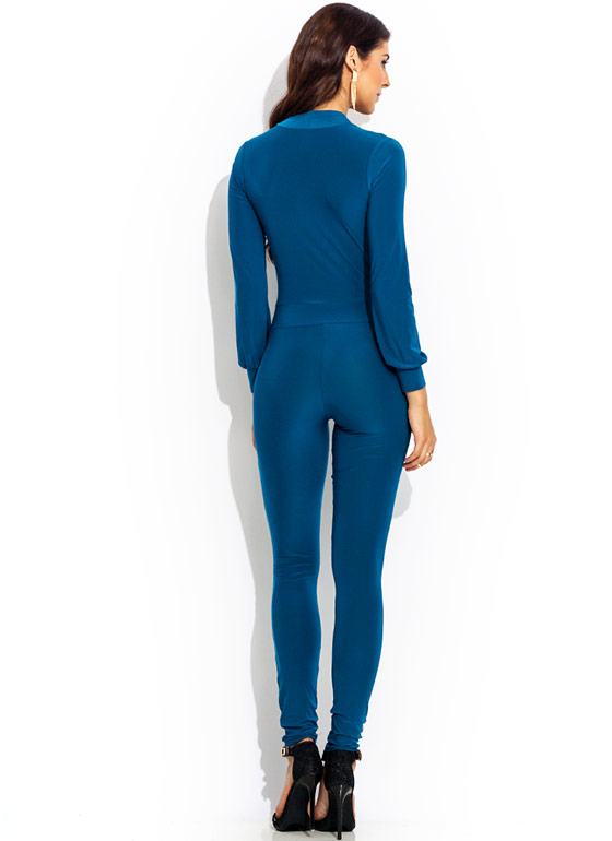 Deep Down Plunging Jumpsuit TEAL