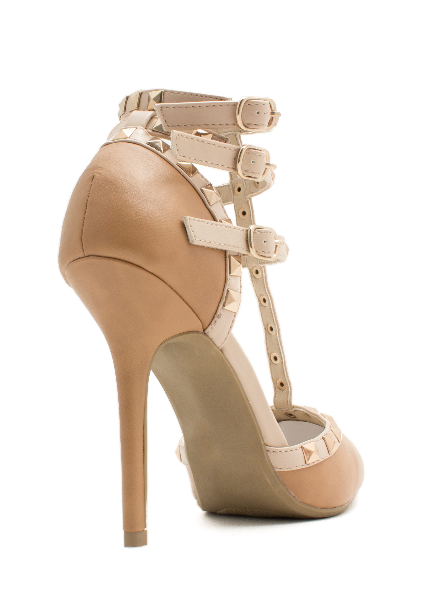 Pointy Spike It Up Heels CAMEL
