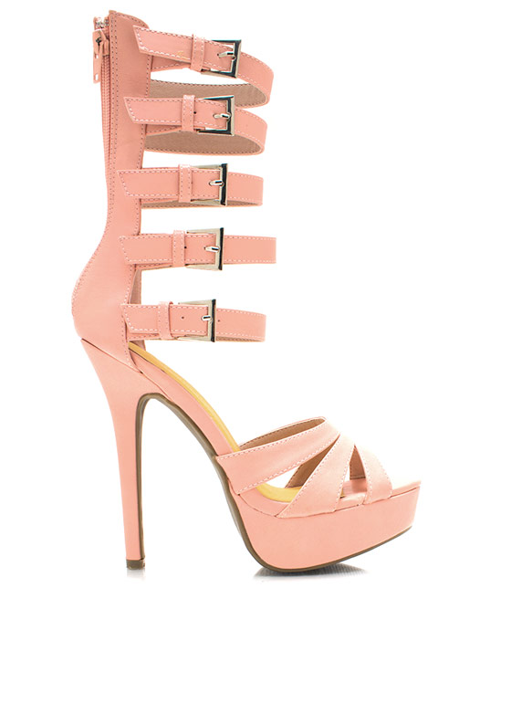 Strap It Up Gladiator Heels PINK