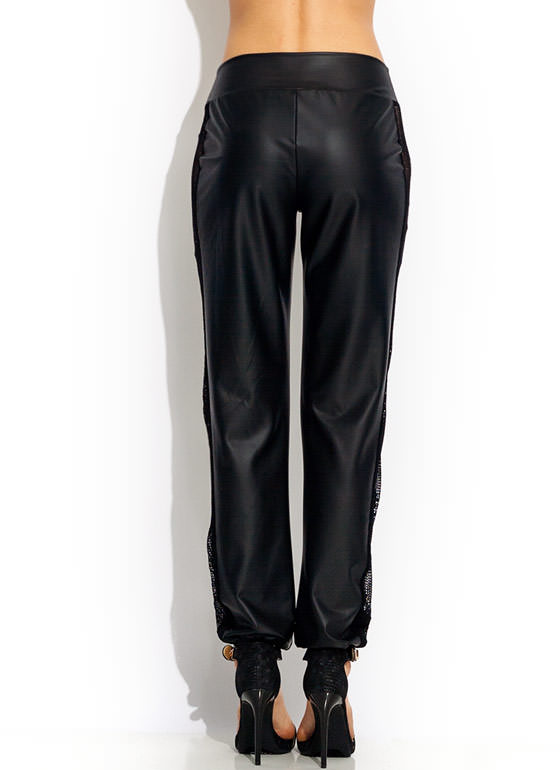 Nothing But Net Faux Leather Joggers BLACK