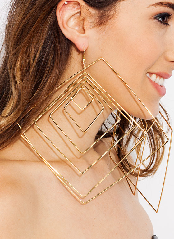 6 Squared Oversized Earrings GOLD