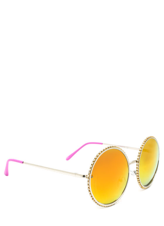 Well Rounded Rhinestone Sunglasses FUCHSILVER