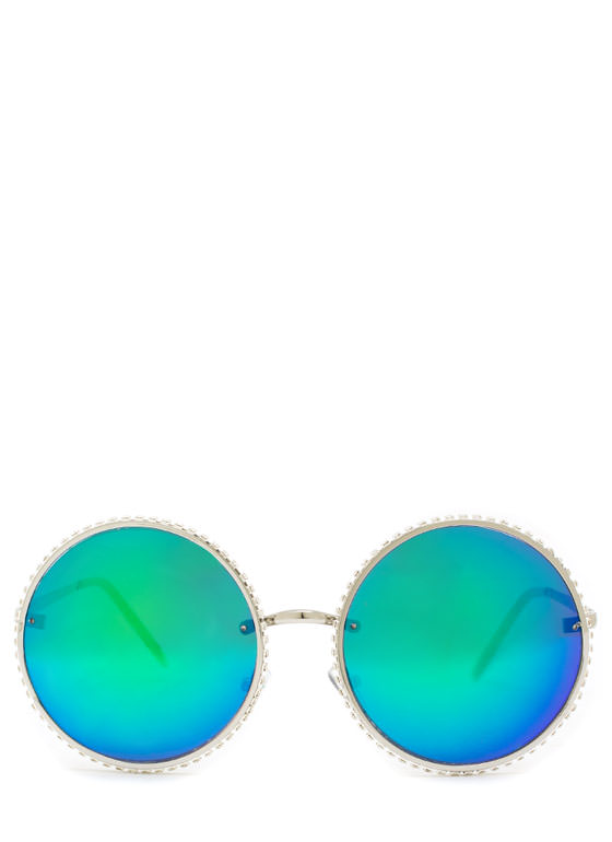Well Rounded Rhinestone Sunglasses GREENSLVR