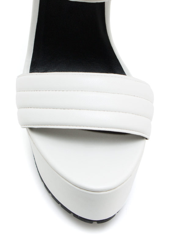 Faux Leather Moto Ranger Heels WHITE