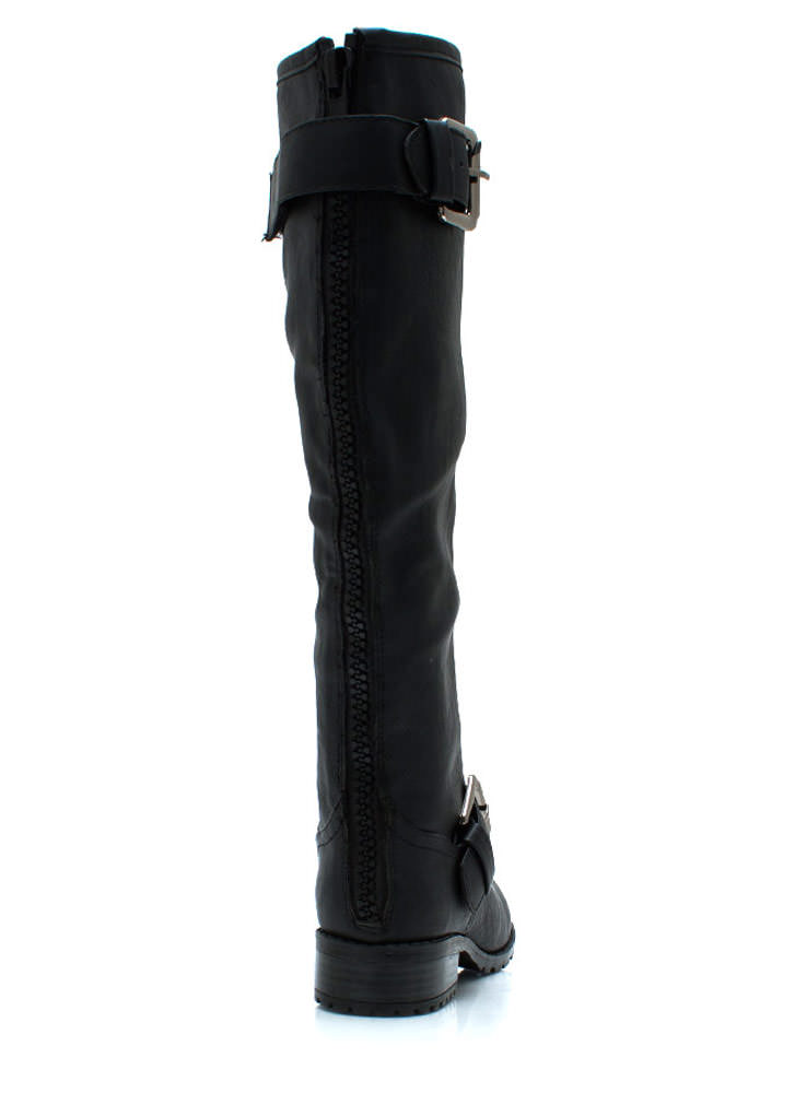 Zip Service Buckled Boots BLACKBLACK