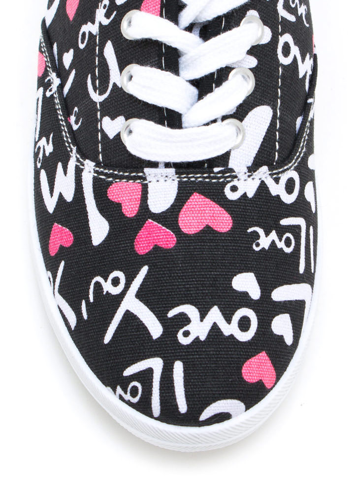 Heart Up 4 Love Canvas Sneakers BLACKWHITE