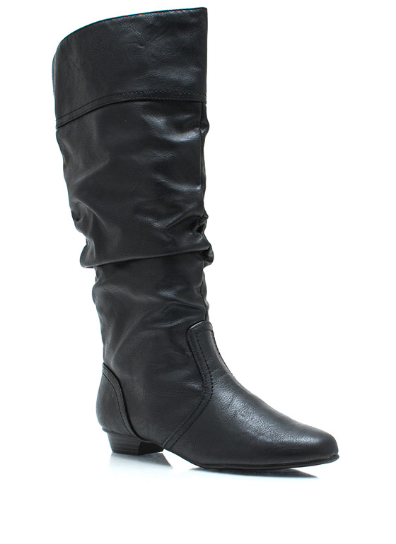 Get Slouched Faux Leather Boots BLACK
