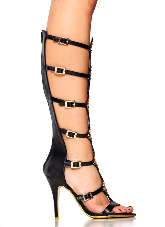 Diamond Studded Gladiator Heels BLACK