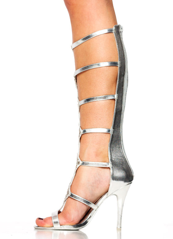 Diamond Studded Gladiator Heels SILVER