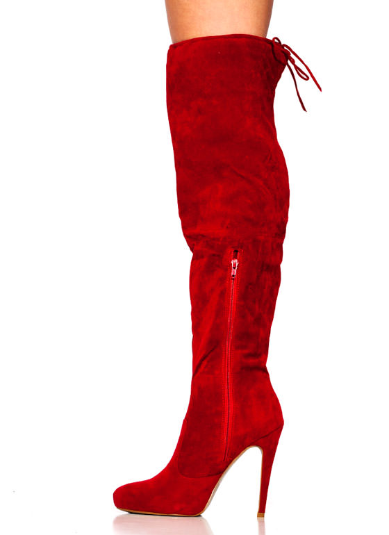 Tie It Up Over The Knee Boots RED