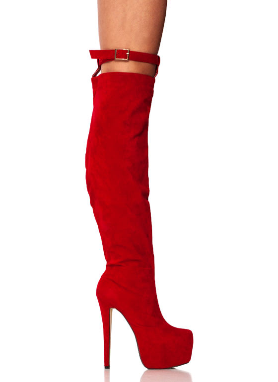 Faux Suede Holster Boots RED
