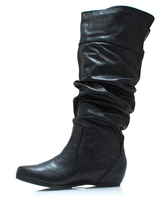 Start Slouching Faux Leather Boots BLACK