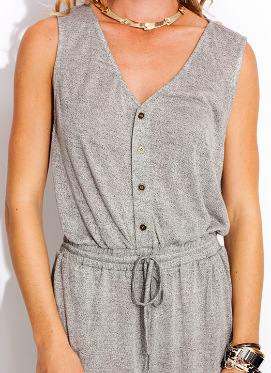 Quad Button Knit Jumpsuit HGREY